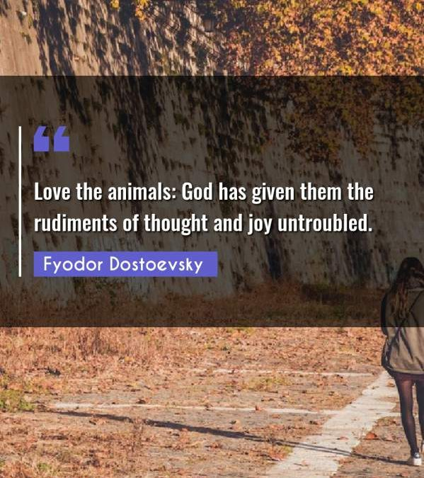 Love the animals: God has given them the rudiments of thought and joy untroubled.