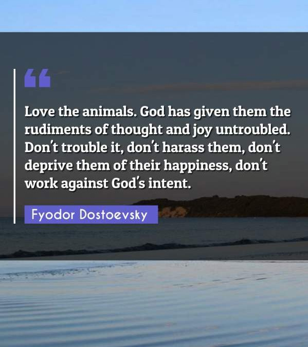 Love the animals. God has given them the rudiments of thought and joy untroubled. Don't trouble it, don't harass them, don't deprive them of their happiness, don't work against God's intent.