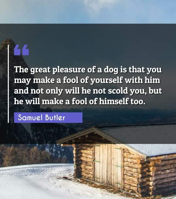 The great pleasure of a dog is that you may make a fool of yourself with him and not only will he not scold you, but he will make a fool of himself too.