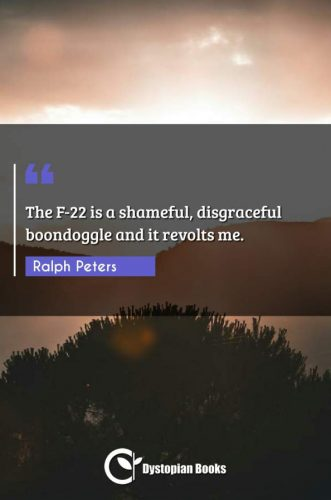 The F-22 is a shameful, disgraceful boondoggle and it revolts me.
