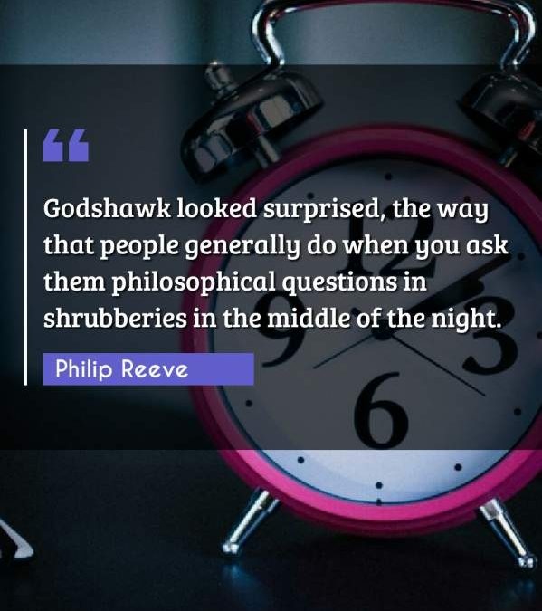 Godshawk looked surprised, the way that people generally do when you ask them philosophical questions in shrubberies in the middle of the night.
