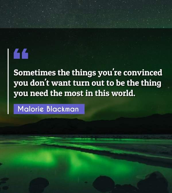 Sometimes the things you're convinced you don't want turn out to be the thing you need the most in this world.