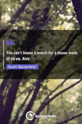 You can't blame a match for a house made of straw, Alek.