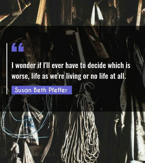 I wonder if I'll ever have to decide which is worse, life as we're living or no life at all.
