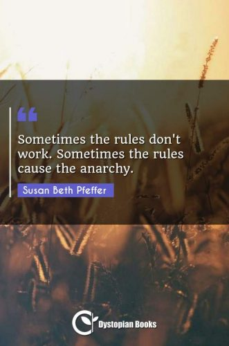 Sometimes the rules don't work. Sometimes the rules cause the anarchy.