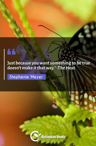 """Just because you want something to be true doesn't make it that way."""" -The Host"""