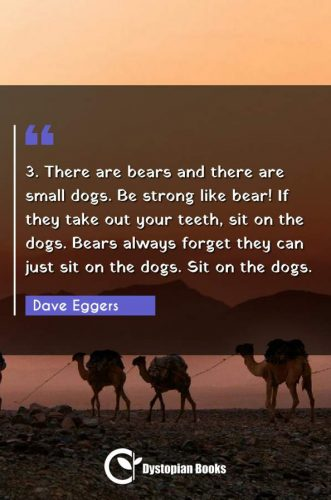 3. There are bears and there are small dogs. Be strong like bear! If they take out your teeth, sit on the dogs. Bears always forget they can just sit on the dogs. Sit on the dogs.