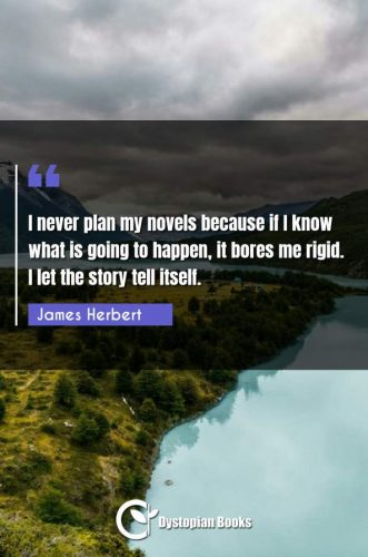 I never plan my novels because if I know what is going to happen, it bores me rigid. I let the story tell itself.
