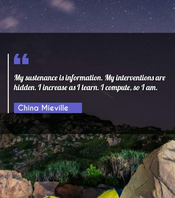 My sustenance is information. My interventions are hidden. I increase as I learn. I compute, so I am.