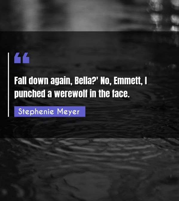 Fall down again, Bella?' No, Emmett, I punched a werewolf in the face.