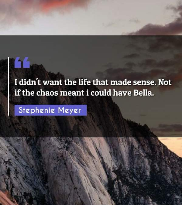 I didn't want the life that made sense. Not if the chaos meant i could have Bella.