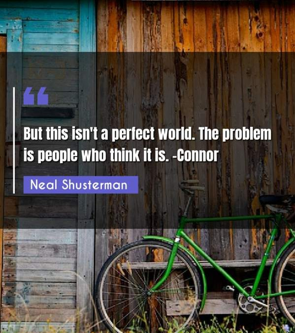 But this isn't a perfect world. The problem is people who think it is. -Connor