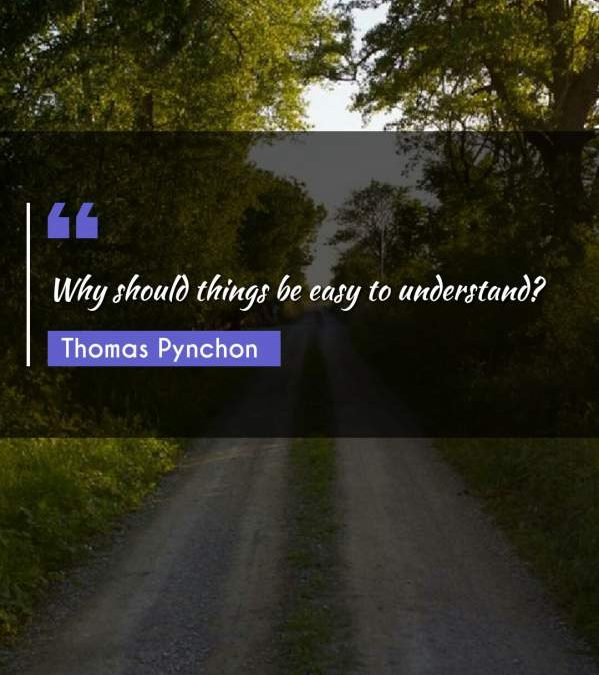 Why should things be easy to understand?