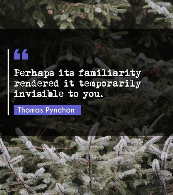Perhaps its familiarity rendered it temporarily invisible to you.
