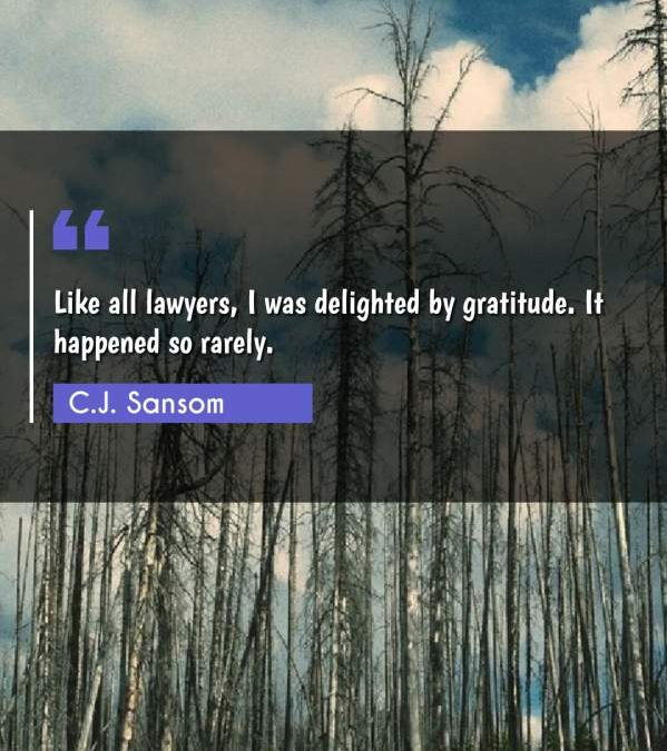 Like all lawyers, I was delighted by gratitude. It happened so rarely.