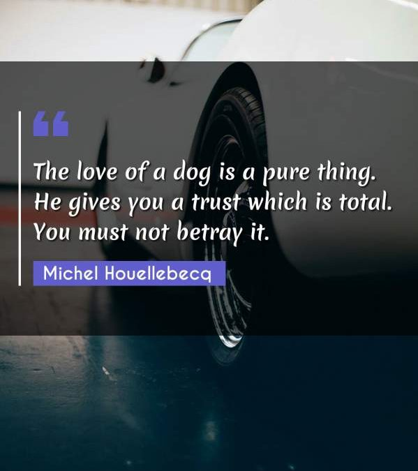 The love of a dog is a pure thing. He gives you a trust which is total. You must not betray it.