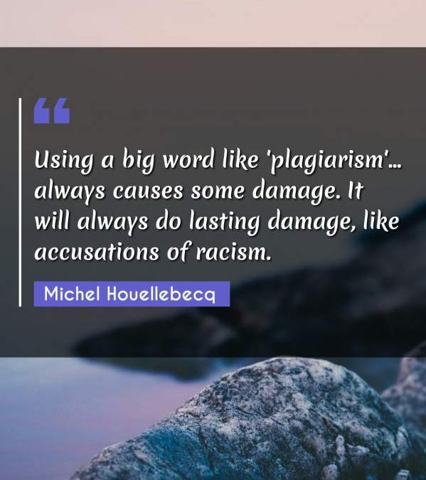 Using a big word like 'plagiarism'... always causes some damage. It will always do lasting damage, like accusations of racism.
