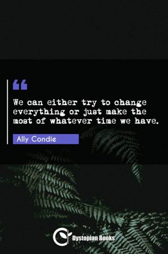 We can either try to change everything or just make the most of whatever time we have.