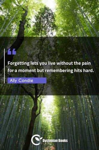 Forgetting lets you live without the pain for a moment but remembering hits hard.