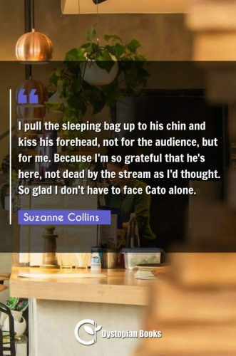 I pull the sleeping bag up to his chin and kiss his forehead, not for the audience, but for me. Because I'm so grateful that he's here, not dead by the stream as I'd thought. So glad I don't have to face Cato alone.