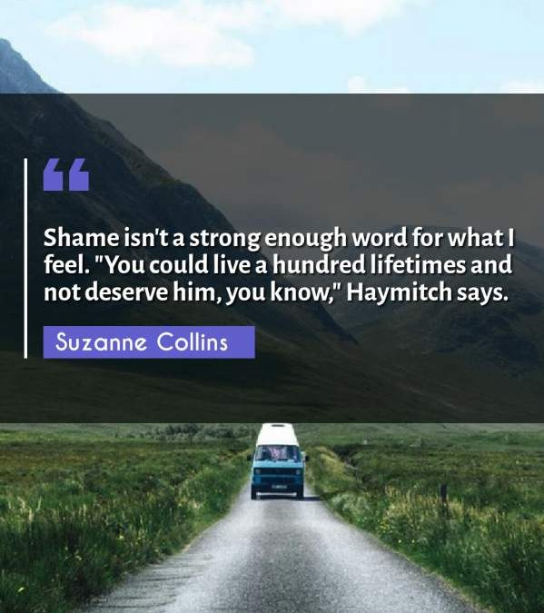 Shame isn't a strong enough word for what I feel. You could live a hundred lifetimes and not deserve him you know Haymitch says.