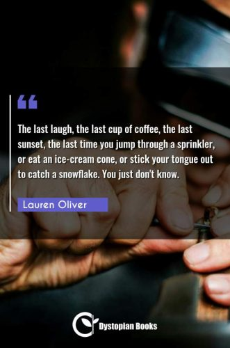 The last laugh, the last cup of coffee, the last sunset, the last time you jump through a sprinkler, or eat an ice-cream cone, or stick your tongue out to catch a snowflake. You just don't know.