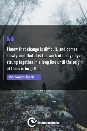 I know that change is difficult, and comes slowly, and that it is the work of many days strung together in a long line until the origin of them is forgotten.