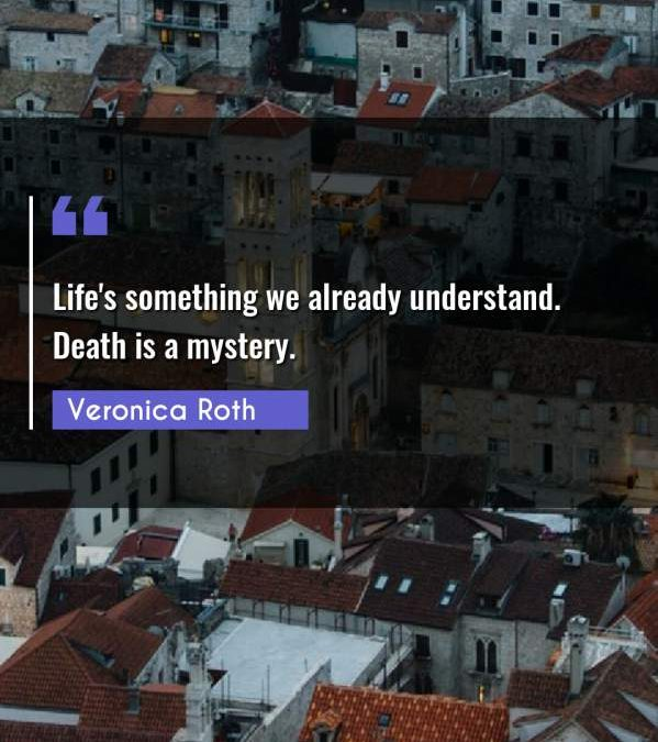 Life's something we already understand. Death is a mystery.