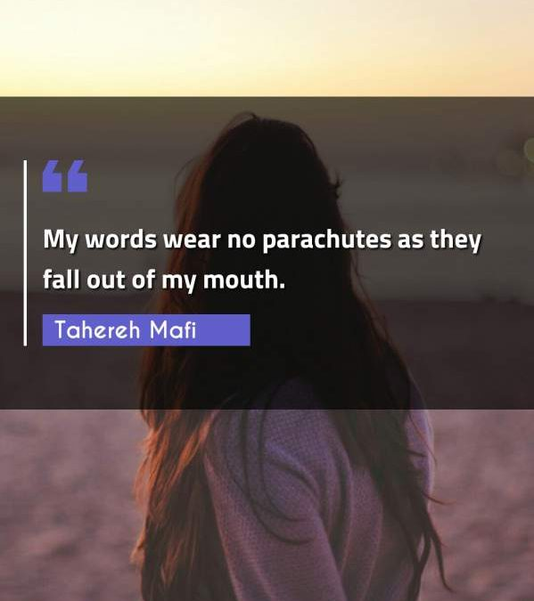 My words wear no parachutes as they fall out of my mouth.