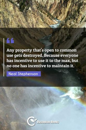 Any property that's open to common use gets destroyed. Because everyone has incentive to use it to the max, but no one has incentive to maintain it.