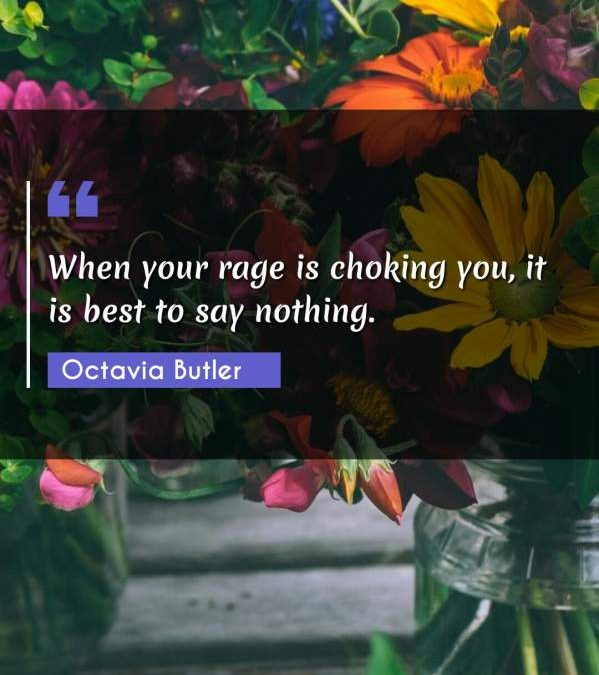 When your rage is choking you, it is best to say nothing.