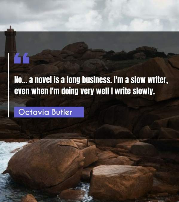 No... a novel is a long business. I'm a slow writer, even when I'm doing very well I write slowly.