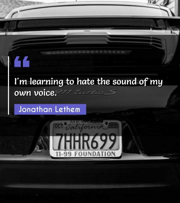 I'm learning to hate the sound of my own voice.