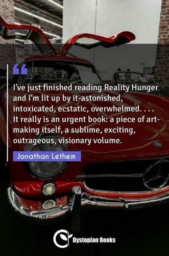 I've just finished reading Reality Hunger and I'm lit up by it-astonished, intoxicated, ecstatic, overwhelmed. . . . It really is an urgent book: a piece of art-making itself, a sublime, exciting, outrageous, visionary volume.
