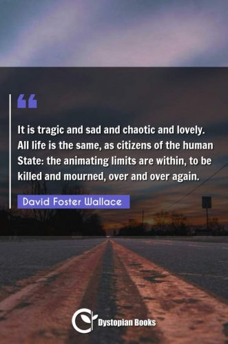 It is tragic and sad and chaotic and lovely. All life is the same, as citizens of the human State: the animating limits are within, to be killed and mourned, over and over again.