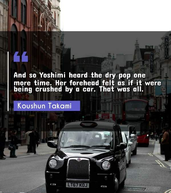 And so Yoshimi heard the dry pop one more time. Her forehead felt as if it were being crushed by a car. That was all.