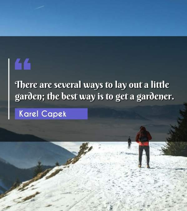 There are several ways to lay out a little garden; the best way is to get a gardener.