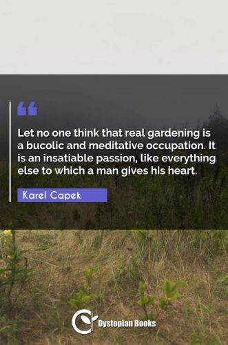 Let no one think that real gardening is a bucolic and meditative occupation. It is an insatiable passion, like everything else to which a man gives his heart.