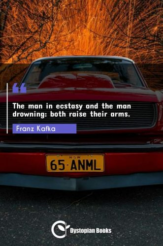 The man in ecstasy and the man drowning: both raise their arms.