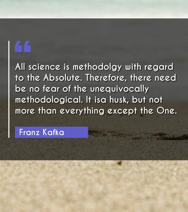 All science is methodolgy with regard to the Absolute. Therefore, there need be no fear of the unequivocally methodological. It isa husk, but not more than everything except the One.