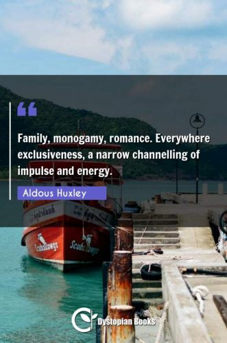 Family, monogamy, romance. Everywhere exclusiveness, a narrow channelling of impulse and energy.