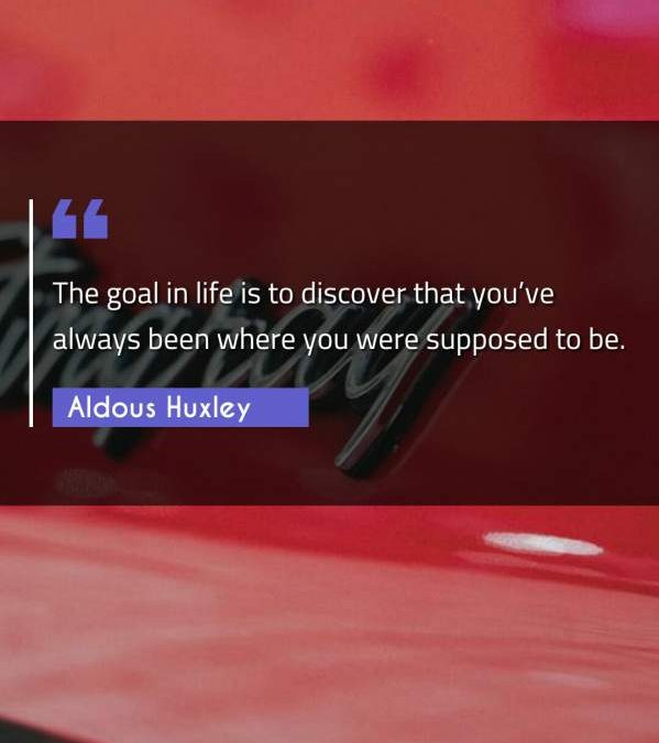 The goal in life is to discover that you've always been where you were supposed to be.