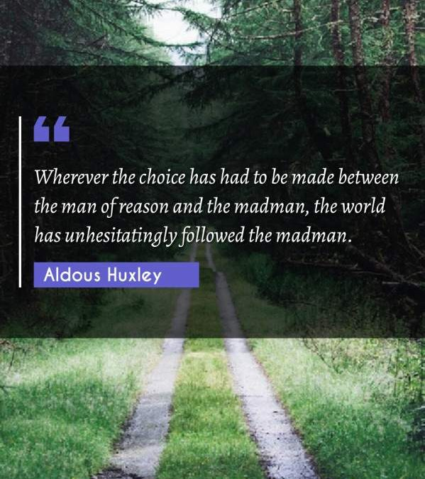 Wherever the choice has had to be made between the man of reason and the madman, the world has unhesitatingly followed the madman.