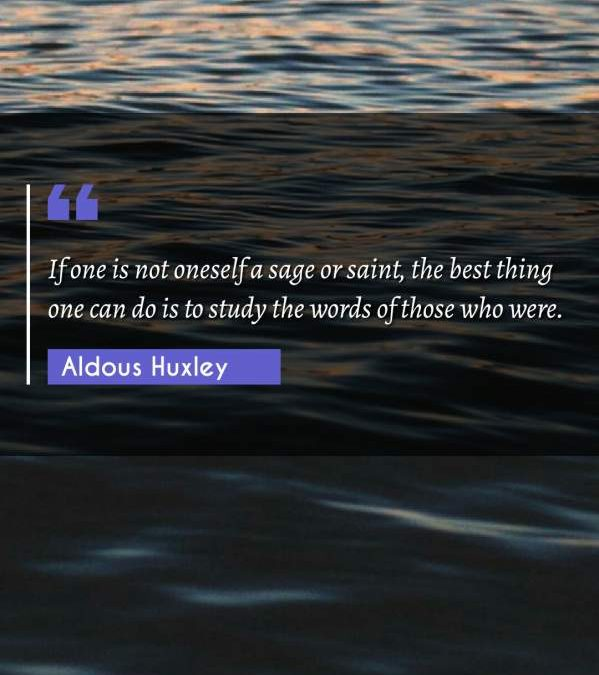 If one is not oneself a sage or saint, the best thing one can do is to study the words of those who were.