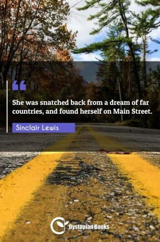 She was snatched back from a dream of far countries, and found herself on Main Street.