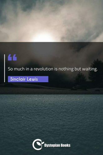 So much in a revolution is nothing but waiting.