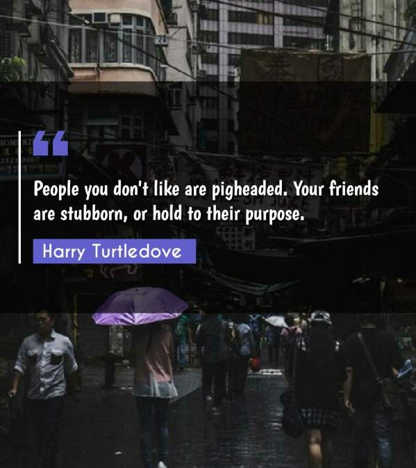 People you don't like are pigheaded. Your friends are stubborn, or hold to their purpose.