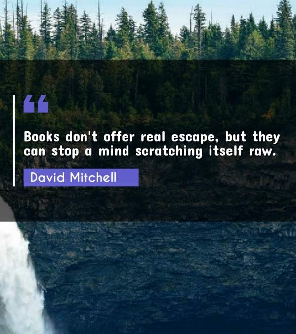 Books don't offer real escape, but they can stop a mind scratching itself raw.