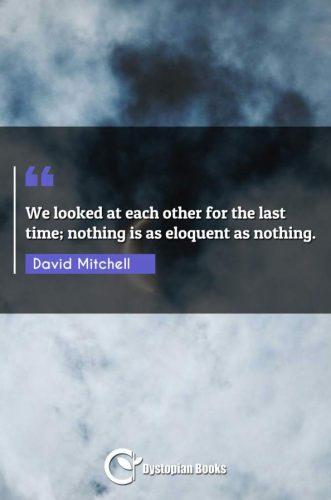 We looked at each other for the last time; nothing is as eloquent as nothing.