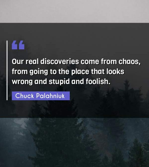 Our real discoveries come from chaos, from going to the place that looks wrong and stupid and foolish.